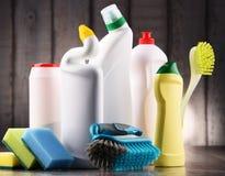 Rozmaitość detergent butelki i chemicznego cleaning dostawy zdjęcia royalty free