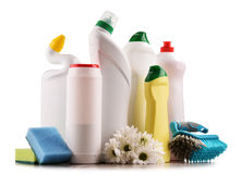 Rozmaitość detergent butelki i chemicznego cleaning dostawy obraz royalty free