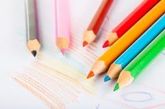 Rozmaitość drewniani kolorów ołówki,  Obrazy Stock