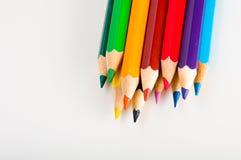 Rozmaitość drewniani kolorów ołówki, odizolowywająca Zdjęcie Royalty Free