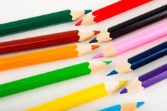 Rozmaitość drewniani kolorów ołówki, odizolowywająca Obraz Royalty Free