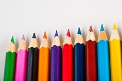 Rozmaitość drewniani kolorów ołówki, odizolowywająca Obrazy Stock