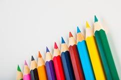 Rozmaitość drewniani kolorów ołówki, odizolowywająca Obraz Stock