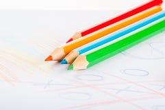 Rozmaitość drewniani kolorów ołówki odizolowywający na białym tle Fotografia Stock