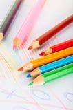 Rozmaitość drewniani kolorów ołówki odizolowywający na białym tle Obraz Royalty Free
