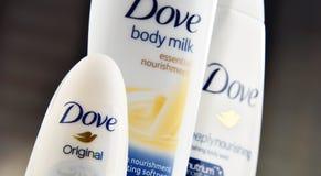 Rozmaitość gołąbka produkty wliczając ciała mleka i anty Obrazy Stock