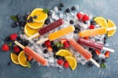 Rozmaitość lodowi popsicles z owoc Obraz Royalty Free