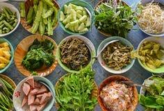 Rozmaitość lokalnych warzyw Tajlandzki Południowy styl Zdjęcia Stock