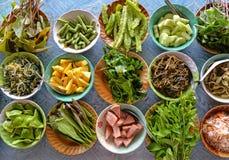 Rozmaitość lokalnych warzyw Tajlandzki Południowy styl Obrazy Royalty Free