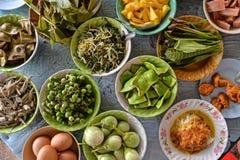 Rozmaitość lokalnych warzyw Tajlandzki Południowy styl Zdjęcie Royalty Free