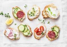 Rozmaitość mini kanapki z kremowym serem, warzywami i salami, Kanapki z serem, ogórek, rzodkiew, pomidory, salami, t Zdjęcie Royalty Free