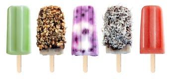 Rozmaitość popsicles odizolowywający na bielu Obraz Royalty Free