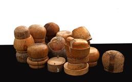 Rozmaitość starzy drewniani kapeluszy bloki Zdjęcie Royalty Free