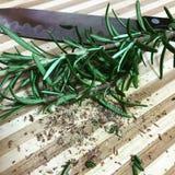 Rozmarynowego flaxseed tnąca deska Fotografia Royalty Free