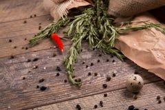 rozmarynowi świezi ziele pieprz czerwone gorące chili Jajko z czarnym pieprzem Wiele pikantność na nieociosanym tle kuchnia zielo Fotografia Stock