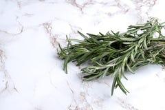 Rozmarynowy ziele na bielu marmurze fotografia stock