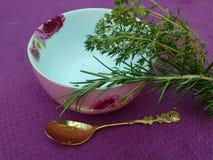 Rozmaryny i macierzanka dla herbaty na stole Obrazy Royalty Free