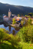 Rozmberk nad Vltavou south bohemia church view from the castle Royalty Free Stock Images