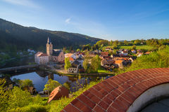 Rozmberk nad Vltavou south bohemia church view from the castle Royalty Free Stock Photo