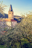 Rozmberk nad Vltavou south bohemia church view by the way on the castle Royalty Free Stock Images