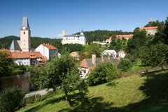 Rozmberk nad Vltavou town and gothic castle Royalty Free Stock Photography