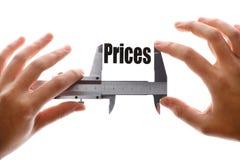 Rozmiar nasz ceny obraz stock