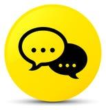 Rozmowa bąbla ikony żółty round guzik ilustracji