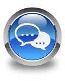 Rozmowa bąbla ikony glansowany błękitny round guzik ilustracja wektor