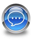Rozmowa bąbla ikony glansowany błękitny round guzik royalty ilustracja