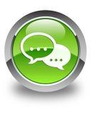 Rozmowa bąbla ikony glansowany zielony round guzik ilustracji