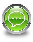 Rozmowa bąbla ikony glansowany zielony round guzik ilustracja wektor