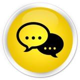 Rozmowa bąbla ikony premii żółty round guzik ilustracji