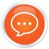 Rozmowa bąbla ikony premii pomarańczowy round guzik ilustracja wektor