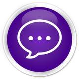 Rozmowa bąbla ikony premii purpurowy round guzik ilustracja wektor