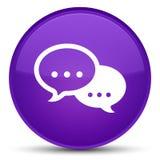 Rozmowa bąbla ikony specjalny purpurowy round guzik royalty ilustracja