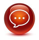 Rozmowa bąbla ikony szklisty brown round guzik ilustracja wektor