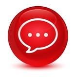 Rozmowa bąbla ikony szklisty czerwony round guzik royalty ilustracja