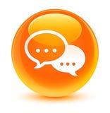 Rozmowa bąbla ikony szklisty pomarańczowy round guzik ilustracja wektor