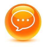 Rozmowa bąbla ikony szklisty pomarańczowy round guzik ilustracji