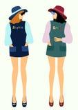 Rozmowa dwa dziewczyny w modnych ubraniach wektorowych ilustracji