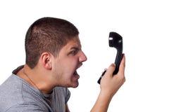 rozmowa gniewny telefon obrazy stock