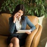 rozmowa jest dialog telefonu kobiety Obraz Stock