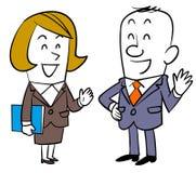 Rozmowa między męskimi pracownikami i żeńskimi pracownikami ilustracja wektor