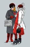 Rozmowa modne mieszczanki ilustracja wektor