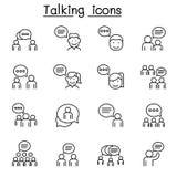 Rozmowa, mowa, dyskusja, dialog ikona ustawiająca w cienkim kreskowym stylu ilustracji