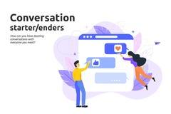 Rozmowa początek i enders pojęcie Mężczyzna i kobiety teksta messag royalty ilustracja