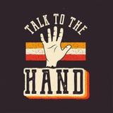 rozmowa ręce 90's stylu etykietka, retro plakat Roczników lata dziewięćdziesiąte t druku ręka rysujący koszulowy projekt zapas ilustracji