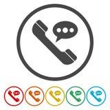 Rozmowa Telefonicza wektoru ikona Styl jest mieszkanie zaokrąglającym symbolem royalty ilustracja