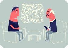 Rozmowa z psychoanalitykiem ilustracja wektor