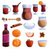 Rozmyślać wino ikony ustawiać, kreskówka styl ilustracji